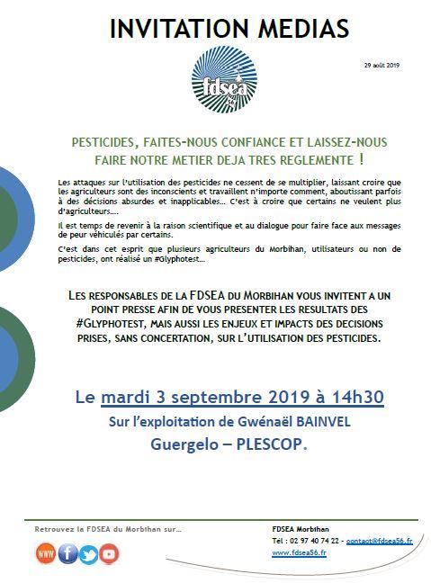 Conférence de presse mardi 3 septembre à Plescop